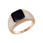 Мужское кольцо с фианитами и ониксом, вес 6,15 грамм