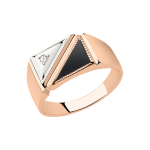 Мужское кольцо с ониксом и фианитом