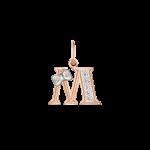 """Buchstabenanhänger """"M"""" mit Zirkonia"""