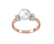 Ladies Ring with pearl and zirconia
