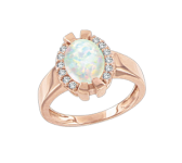 Ladies Ring with Opal and zirconia