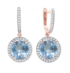 Earrings with blue Topaz and zirconia