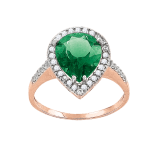 Ladies Ring with emerald and zirconia