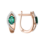 Earrings with emerald and brilliants