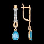 Ohrhänger mit Blau Topas, Zirkonia