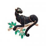 Brosche Panther mit Achat und Zirkonia