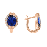 Earrings with sapphire and zirconia
