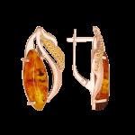 Ohrhänger mit Bernstein und Zirkonia vergoldet