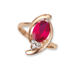 Ladies Ring with ruby and zirconia