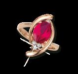 Кольцо с гидротермальным рубином и фианитами