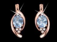 Ohrringe mit blauem Topas, Zirkonia oder Brillant