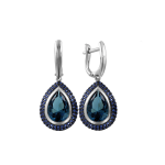 Ohrringe mit London Sitall und blau Zirkonia
