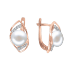 Earrings with pearl and zirconia
