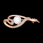Brosche mit Perle und Zirkonia