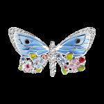 Brosche Schmetterling mit Rubin und Emaille