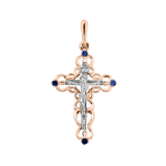 Anhänger Kreuz mit Saphir
