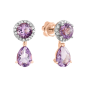 Studs earrings with amethyst and zirconia